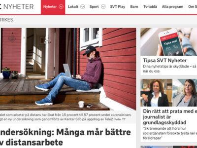 SVT - Undersökning: Många mår bättre av distansarbete