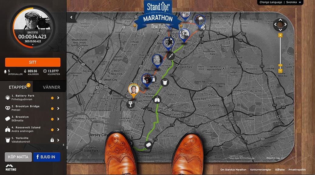 StandUp Marathon karta med etapper